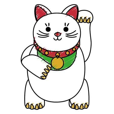 japanese cat luck icon vector illustration design Illustration