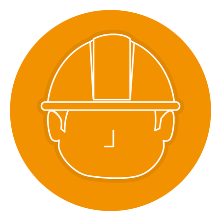 builder head avatar character icon vector illustration design