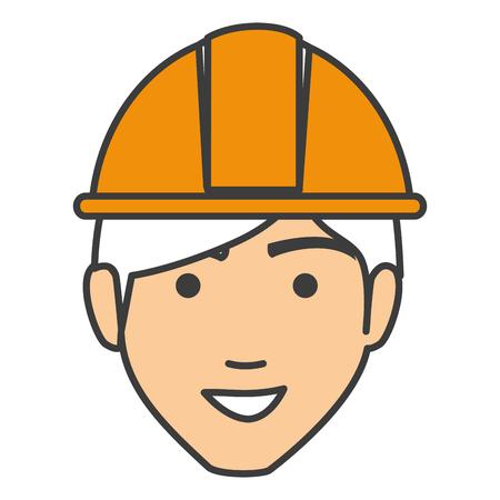 labourer: builder head avatar character icon vector illustration design