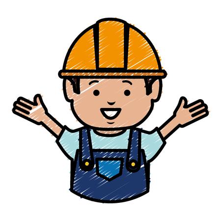 master: builder avatar character icon vector illustration design Illustration