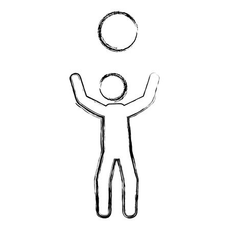 Jugador con diseño de ilustración de vector de silueta de bola Foto de archivo - 83799519