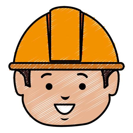 builder head avatar character icon vector illustration design