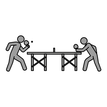 ping pong players with table silhouette vector illustration design Illustration