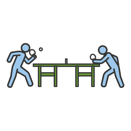 卓球選手がテーブルのシルエットのベクター イラスト デザイン