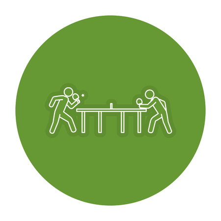 ping pong players with table silhouette vector illustration design Illusztráció