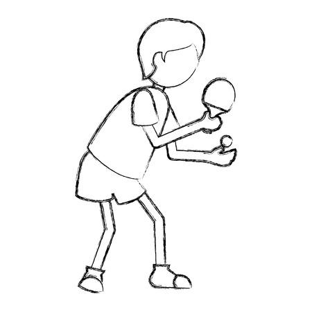 ping pong 選手シルエット ベクトル イラスト デザイン  イラスト・ベクター素材