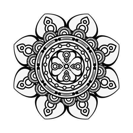 Mandala spiritual symbol over white background vector illustration