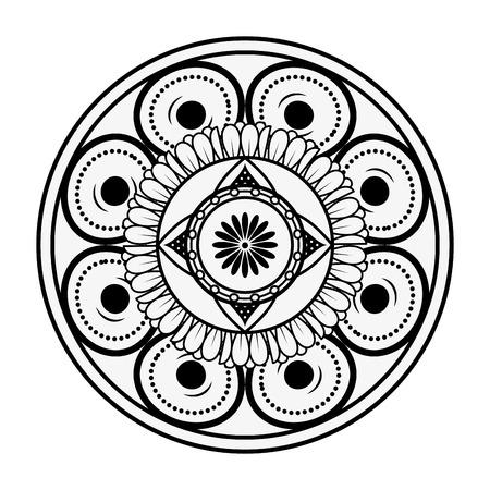 Mandala spiritual symbol over white background Ilustração