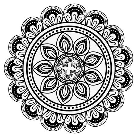 白い背景のベクトル図にマンダラ精神的な記号  イラスト・ベクター素材