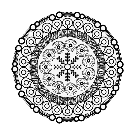 Mandala spiritual symbol over white background vector illustration