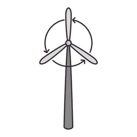 Wind turbine eolic energy over white background graphic design