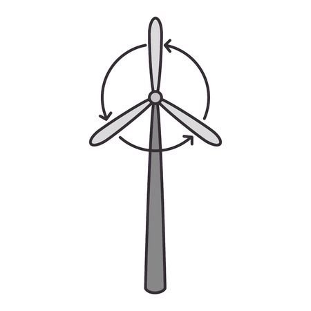 Wind turbine eolic energy over white background graphic design