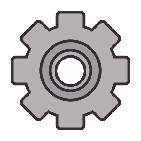 Gear machinery piece over white background graphic design