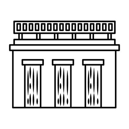 白い背景のベクトル図を水ダム アイコン。