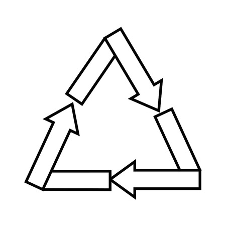 Recycle sign icon over white background vector illustration. Ilustração