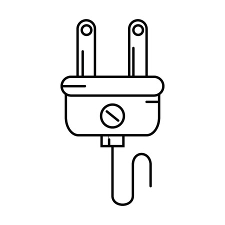 흰색 배경 벡터 일러스트 레이 션을 통해 전기 플러그 아이콘입니다.