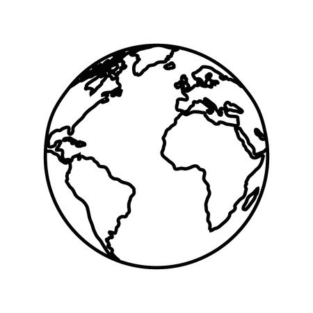 Earth planet icon over white background vector illustration. Illusztráció