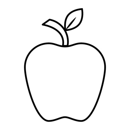 An apple fruit icon over white background vector illustration. Illustration