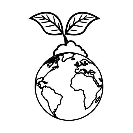 白い背景のベクトル図に地球地球と植物アイコン。