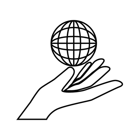 Hand with global sphere icon over white background vector illustration. Illusztráció