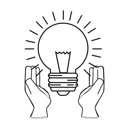 hands with light bulb icon over white background vector illustration 版權商用圖片 - 83813349