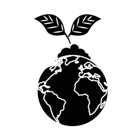 白い背景のベクトル図に地球地球と植物アイコン