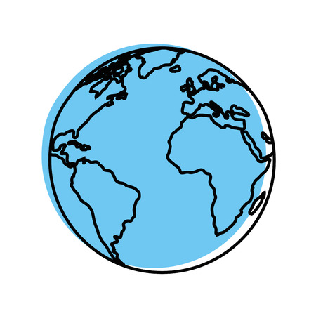 Earth planet icon over white background vector illustration