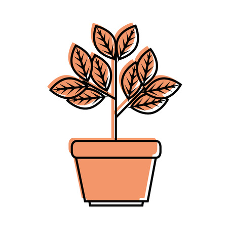 Plant in a pot icon over white background vector illustration Illustration