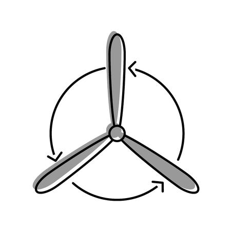 흰색 배경 그래픽 디자인 위에 풍력 터빈 eolic 에너지 일러스트