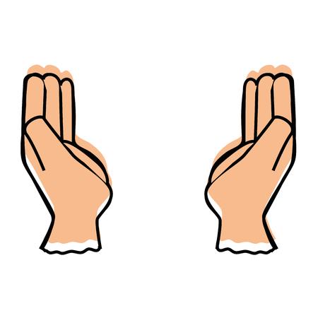 Human hands symbol over white background vector illustration