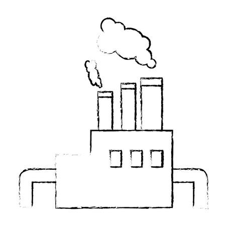 Fabriekspictogram over witte vectorillustratie als achtergrond