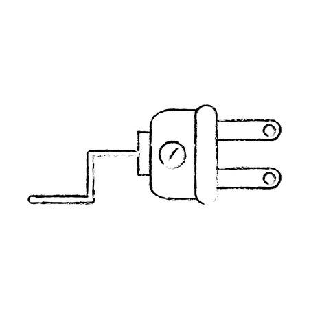 白い背景のグラフィック デザインを分離したプラグ電気