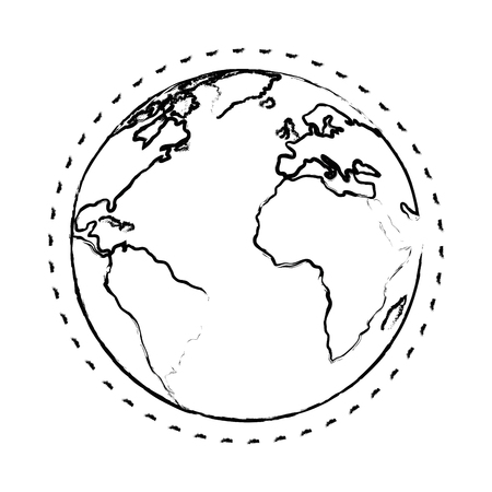 earth planet icon over white background vector illustration Illusztráció