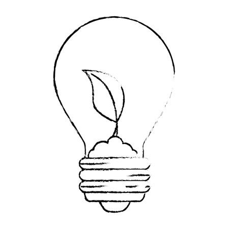 gloeilamp met bladeren pictogram over witte achtergrond vectorillustratie