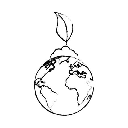 白い背景のベクトル図で地球惑星アイコン