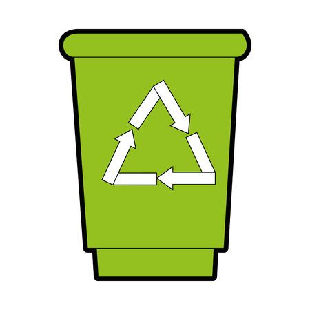 trash bucket icon over white background vector illustration