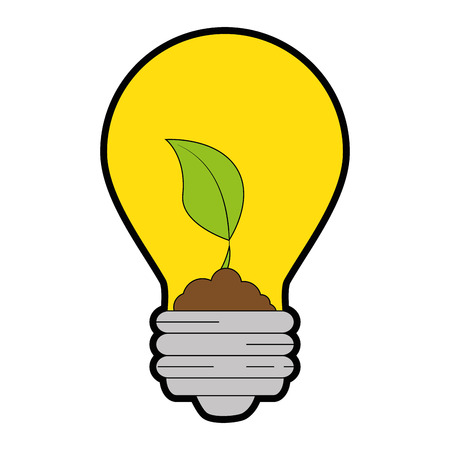 Light bulb with leaves icon over white background vector illustration
