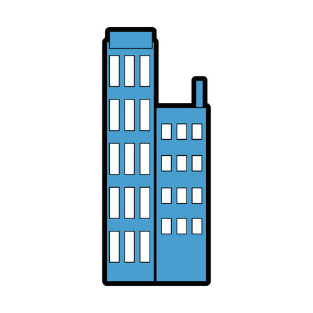 City building icon over white background vector illustration Çizim
