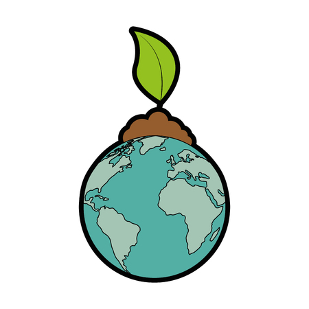 Earth planet and plant icon over white background vector illustration