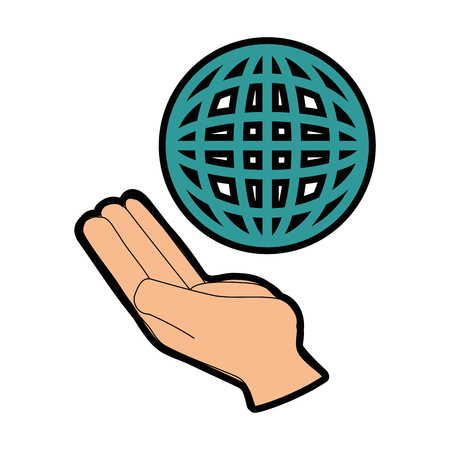 Hand with global sphere icon over white background vector illustration