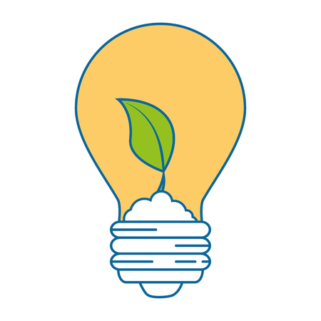 Light bulb with leaves icon over white background vector illustration.