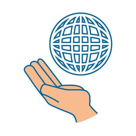 Hand with global sphere icon over white background vector illustration. Ilustração