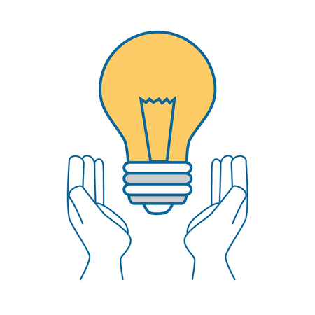 Hands with light bulb icon over white background vector illustration.
