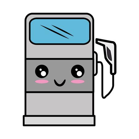 butane: Cartoon gas pump icon vector illustration