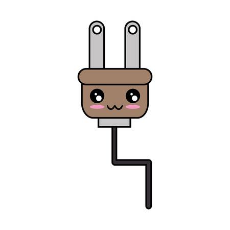 電気プラグのアイコン ベクトル イラストを漫画します。