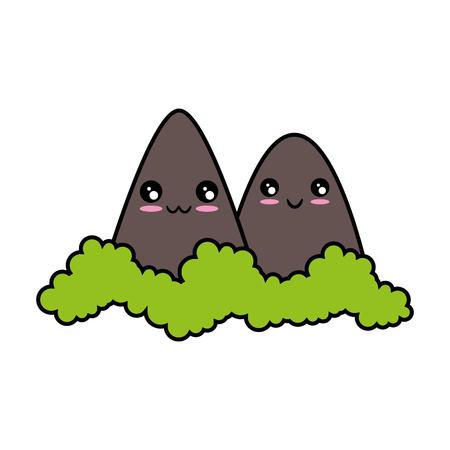 kawaii bergen pictogram over witte achtergrond kleurrijk ontwerp vectorillustratie
