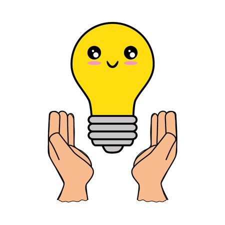 kawaii light bulb icon over white background vector illustration