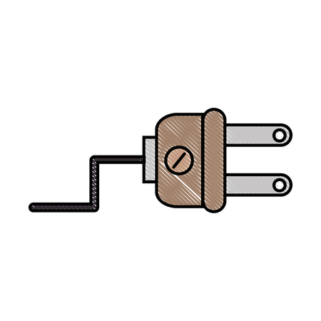 Plug electric isolated over white background graphic design Illustration