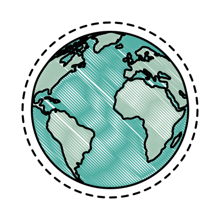 earth planet icon over white background vector illustration Illustration