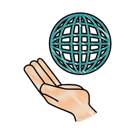 parallel world: hand with global sphere icon over white background vector illustration